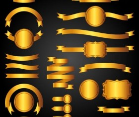 Golden ribbon banners with labels vector 02