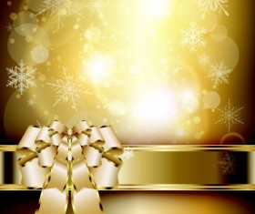 Golden ribbon bow with shiny snowflake background vector 01