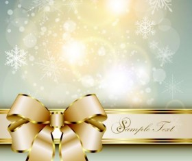 Golden ribbon bow with shiny snowflake background vector 02