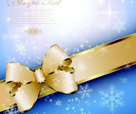 Golden ribbon bow with shiny snowflake background vector 03