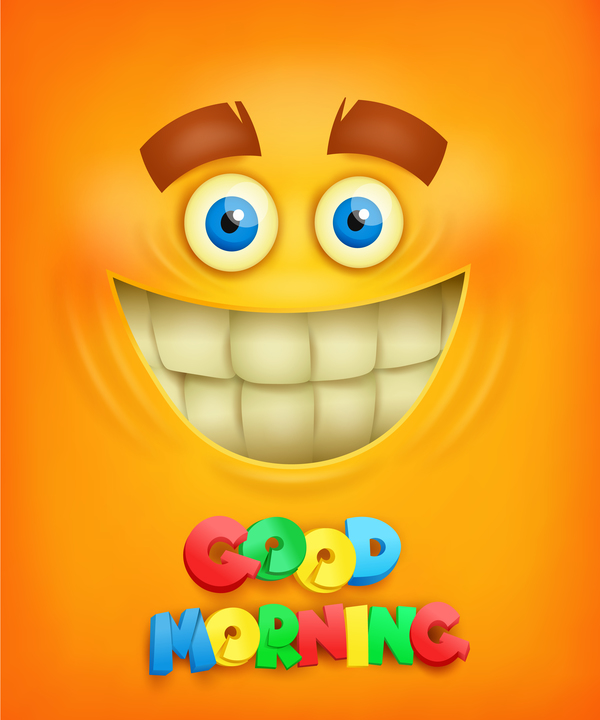Good morning text with smiley emoticon yellow face vector 01