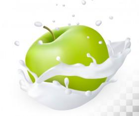 Green apple with splash milk vector