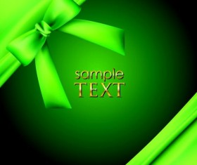 Green background with green bow vector material 01
