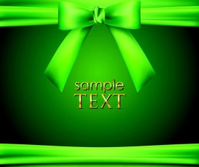 Green background with green bow vector material 02