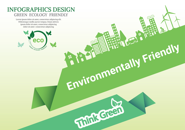 Green Ecology Friendly Infographic Design Vector 01 Free Download