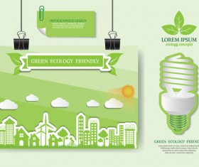 Green ecology friendly infographic design vector 07