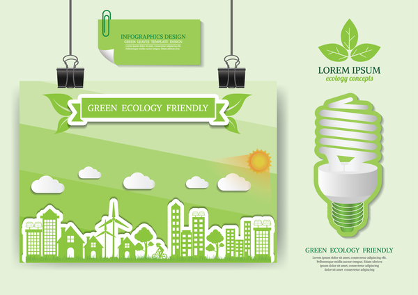 Green Ecology Friendly Infographic Design Vector 07 Free Download