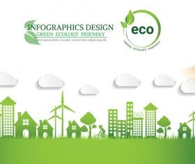 Green ecology friendly infographic design vector 08