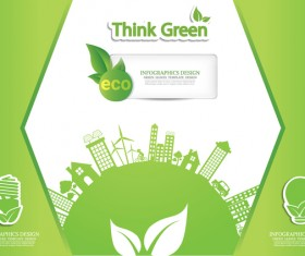 Green ecology friendly infographic design vector 09