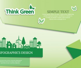 Green ecology friendly infographic design vector 11