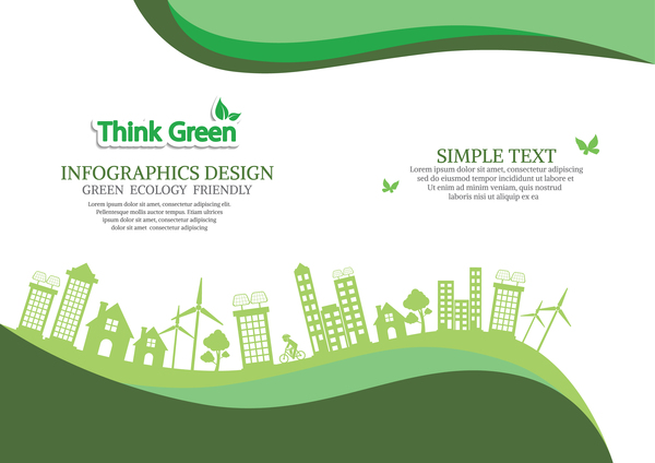 Green ecology friendly infographic design vector 12