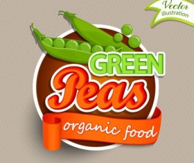 Green peas labels vector