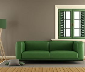 Green sofas with green windows HD picture