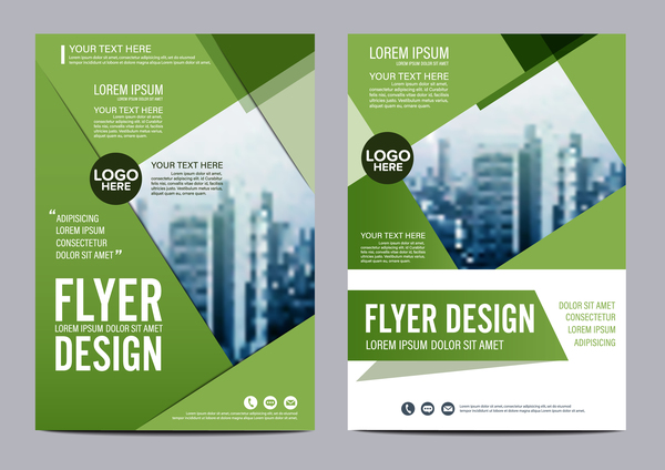 Green styles book and brochure cover vector 08 free download