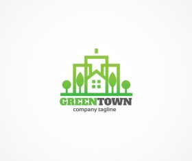 Green town logo design vector