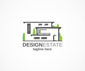 Green with black estate logo design vector