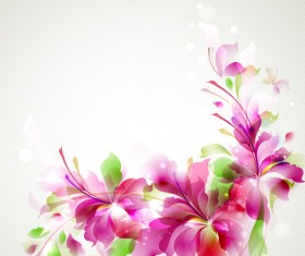 Green with pink flower shining background vector
