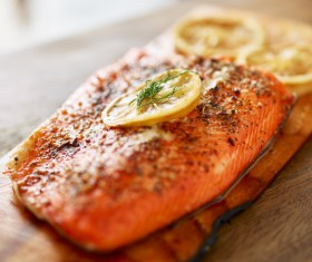 Grilled salmon lemon slice spices HD picture