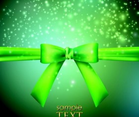 Halation green background with green bow vector