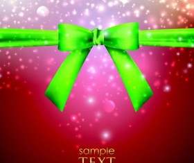 Halation red background with green bow vector