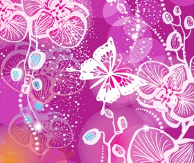 Hand drawn orchid with butterfly vector