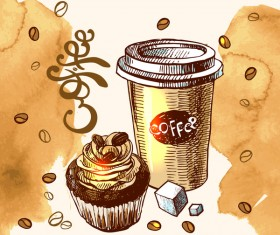 Hand drawn sketch coffee elements vector 08