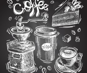Hand drawn sketch coffee elements vector 09