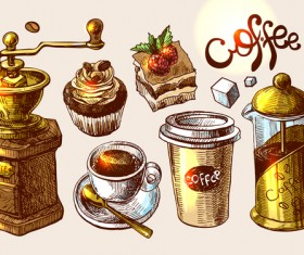 Hand drawn sketch coffee elements vector 10