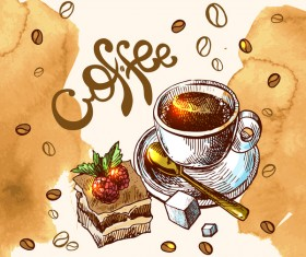 Hand drawn sketch coffee elements vector 11