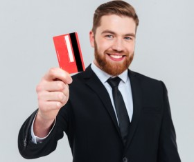 Hand with bank card businessman Stock Photo
