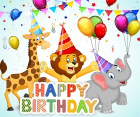 Happy birthday background with cute animal vector 01