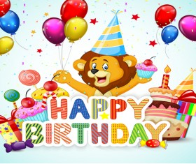 Happy birthday background with cute animal vector 02