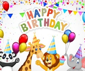 Happy birthday background with cute animal vector 03