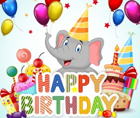 Happy birthday background with cute animal vector 04