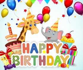 Happy birthday background with cute animal vector 05