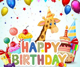 Happy birthday background with cute animal vector 06