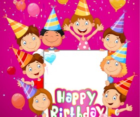 Happy birthday background with cute chrildren vector 01