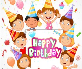 Happy birthday background with cute chrildren vector 02