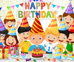 Happy birthday background with cute chrildren vector 03