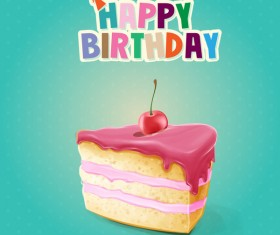 Happy birthday cake card vectors