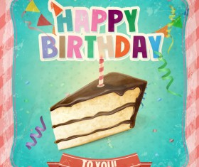 Happy birthday vintage template vectors 01