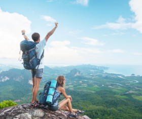 Hikers on the mountain HD picture