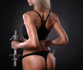 Holding dumbbell fitness female HD picture 01