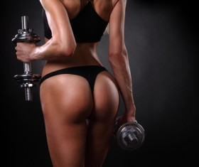 Holding dumbbell fitness female HD picture 02