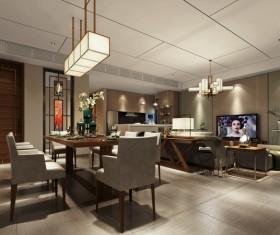 Home living room restaurant integration Stock Photo