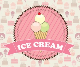 Ice cream pink labels with cake background vector