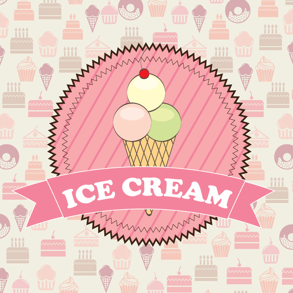 Ice Cream Wallpapers For Desktop: Ice Cream Pink Labels With Cake Background Vector Free