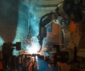 Intelligent Robot in Welding Stock Photo