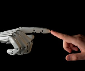 Intelligent robot hand and hand Stock Photo