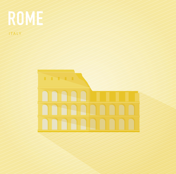 Italy Rome monuments vector
